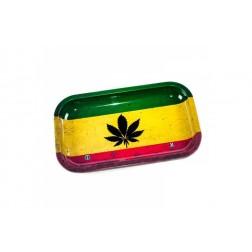 HQ Metal rolling tray - Rasta Leaf